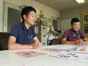 ◎取材を受ける柏村監督(左)と西野選手(右)